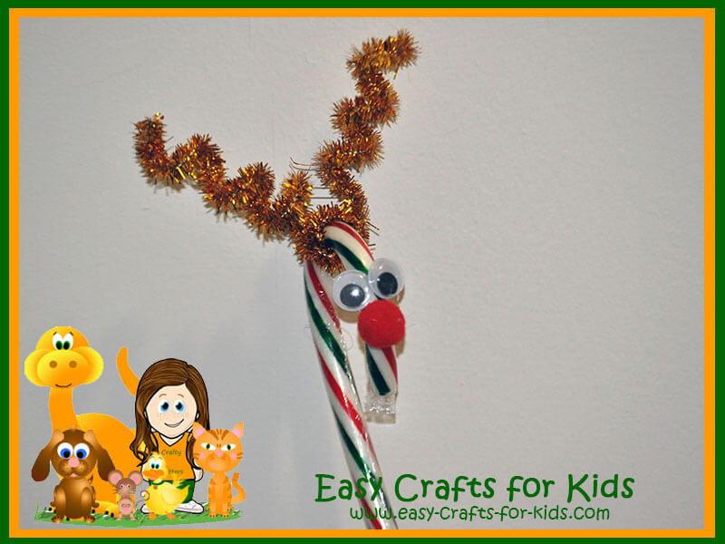 Reindeer Candy Canes - Christmas Kids Crafts