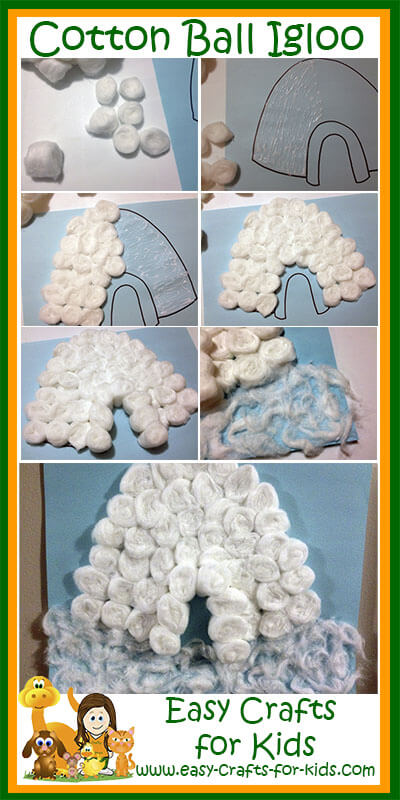 Step by Step Instructions for our Cotton Ball Igloo