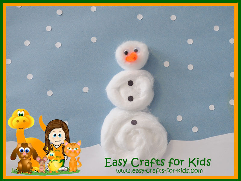 Kids Winter Crafts Cotton Balls Turned Into Fun Snowman