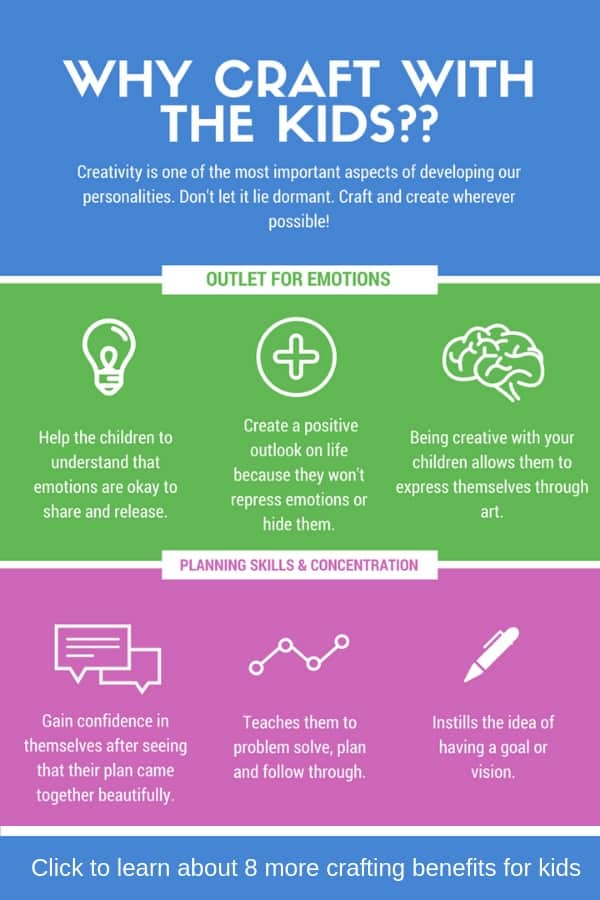 Did you know that crafting has huge benefits for your children? Here's a list of 10 of the most important benefits of crafting: from helping them develop fine motor skills, to helping them process their emotions and bonding with parents and classmates, you can't ignore the advantages of crafting with kids. #easycrafts #kidscrafts #craftingbenefits #crafting #kidsactivities #craftykids