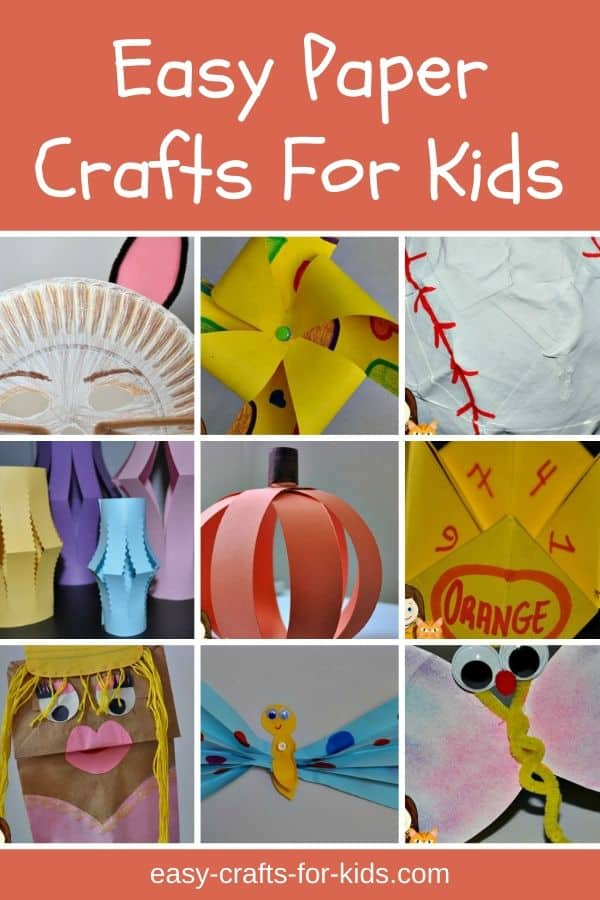 Looking for easy paper crafts for kids? There are lots of paper craft ideas to help your child get creative. Here are some simple to make crafts for boys and girls: bookmarks, butterflies, puppets, masks and many other fun activities that will keep your kids busy and happy year round. #papercraftsforkids #crafts #kidscrafts #easycraftsforkids #papercrafts