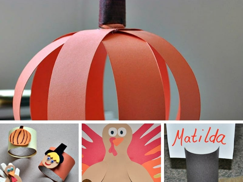 Thanksgiving kids crafts collage
