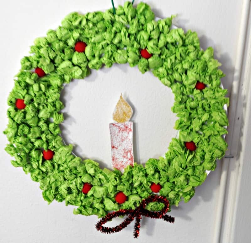 Tissue paper Christmas wreath