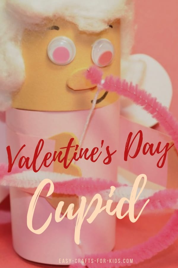 If you are looking for some simple Valentine's day crafts for kids, this Valentine day cupid craft is easy to make perfect to share with friends at school. #valentinesdaycrafts #craftsforkids #kidscrafts #kiddsvalentinecrafts #cupid #love #valentine #kidsactivities #tpcrafts #toiletpaperrollcrafts
