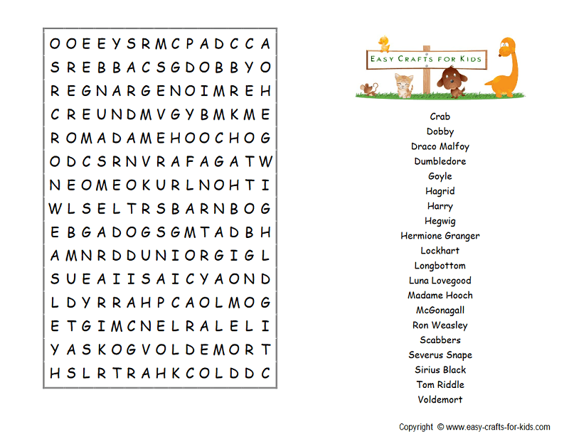Harry Potter characteres word search