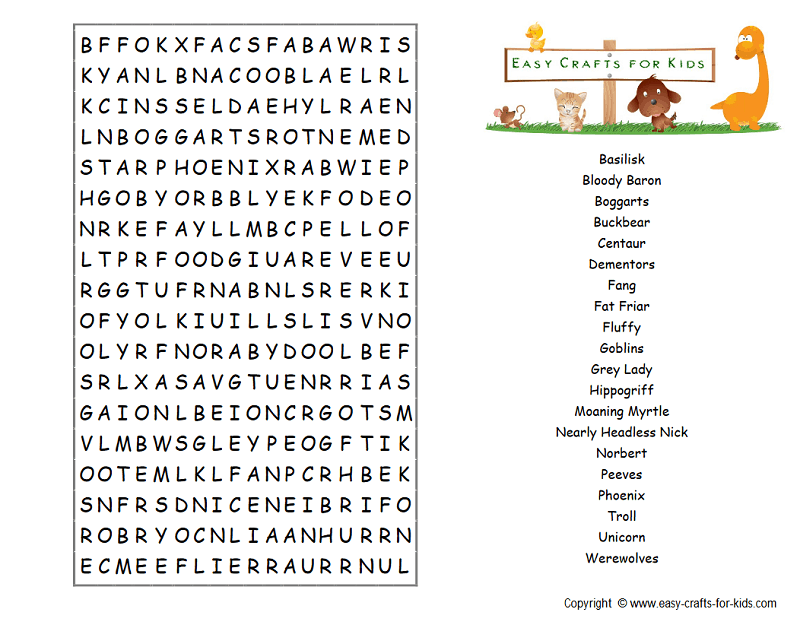 Harry Potter creatures word search