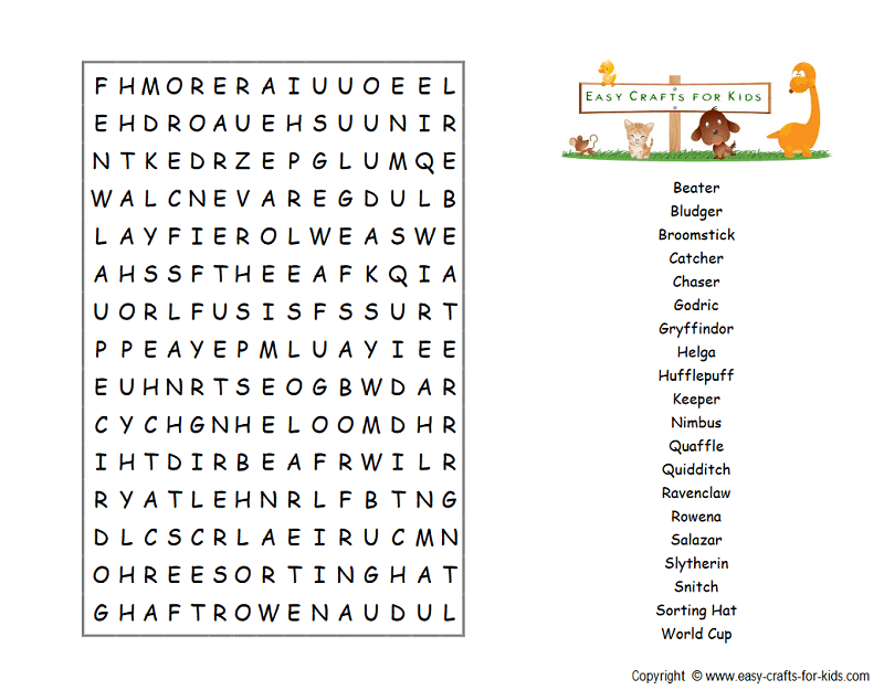 Harry Potter houses word search