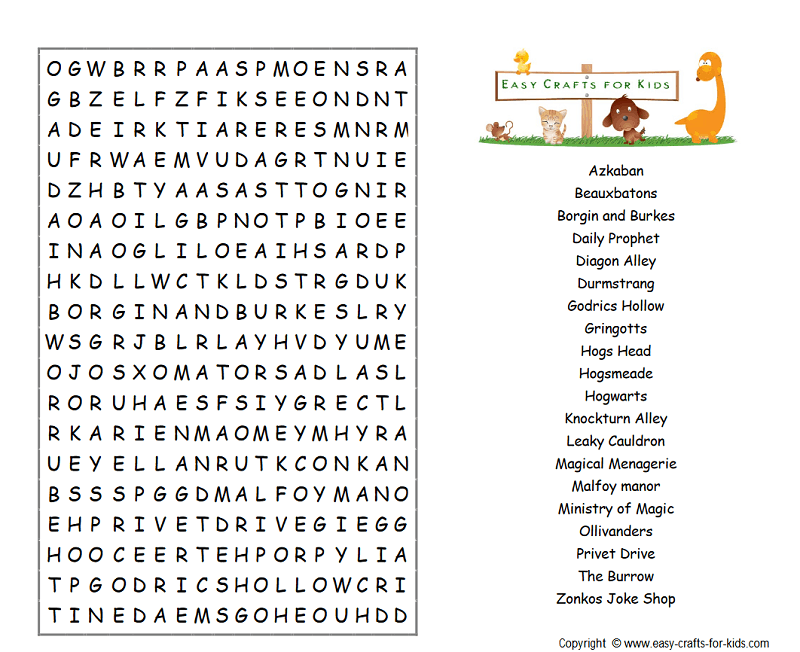 Harry Potter places word search