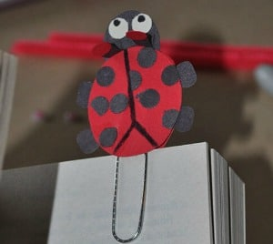 Ladybug paperclip bookmark