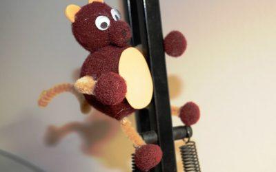 Finished monkey, climbing on my lamp