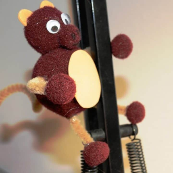 Finished monkey, climbing on my lamp