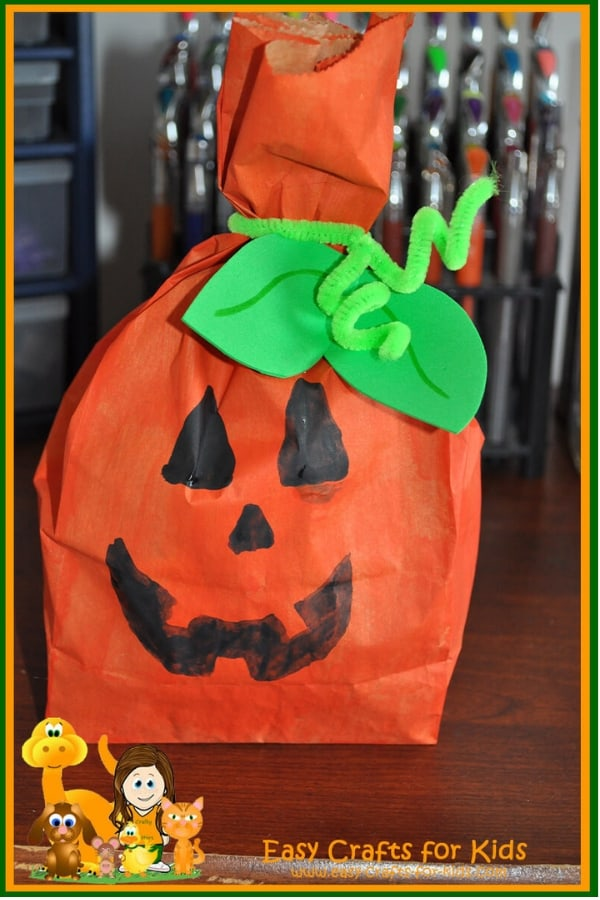 Pumpkin treat bag filled with goodies