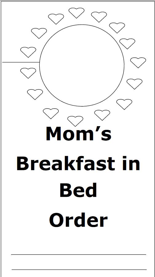 Mom's breakfast in bed printable