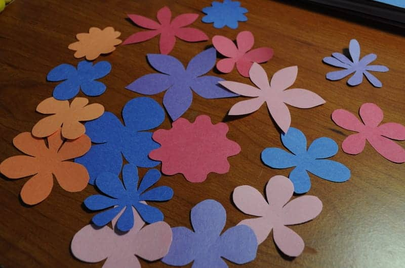 Flowers cut out of colored paper
