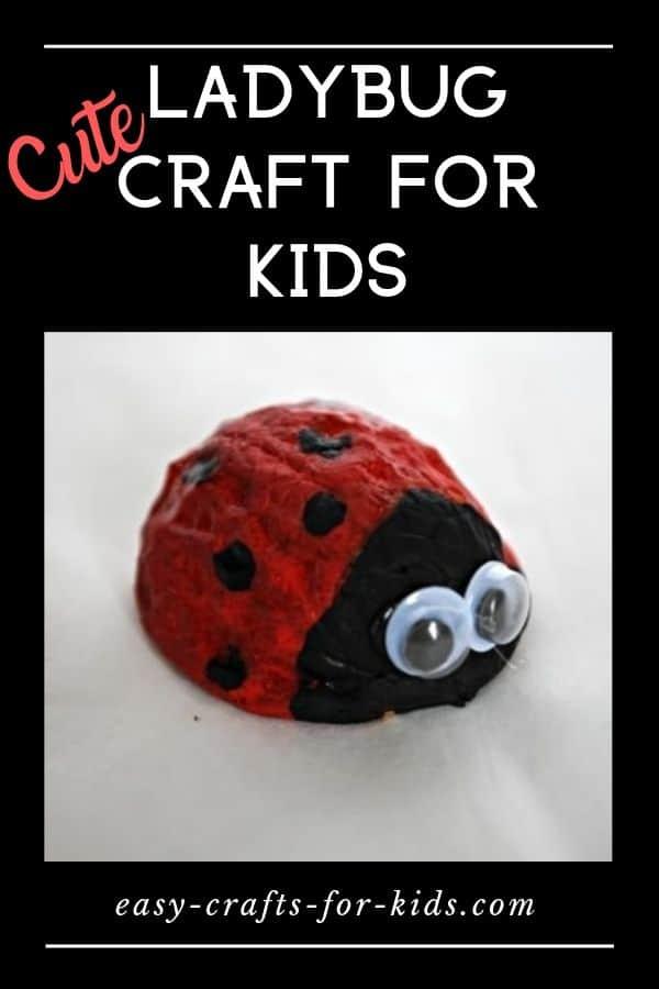 Here are some fun ladybug crafts for kids: a walnut ladybug, a lady bug puzzle, a ladybug hand print art craft, and more. #crafts #kidscrafts #walnutcrafts #ladybugcrafts #funkidsactivities #funforkids #bugscraft