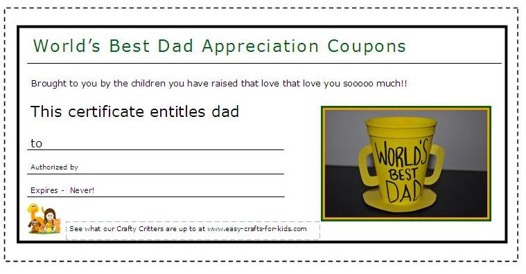 Appreciation coupons for dad on his special day