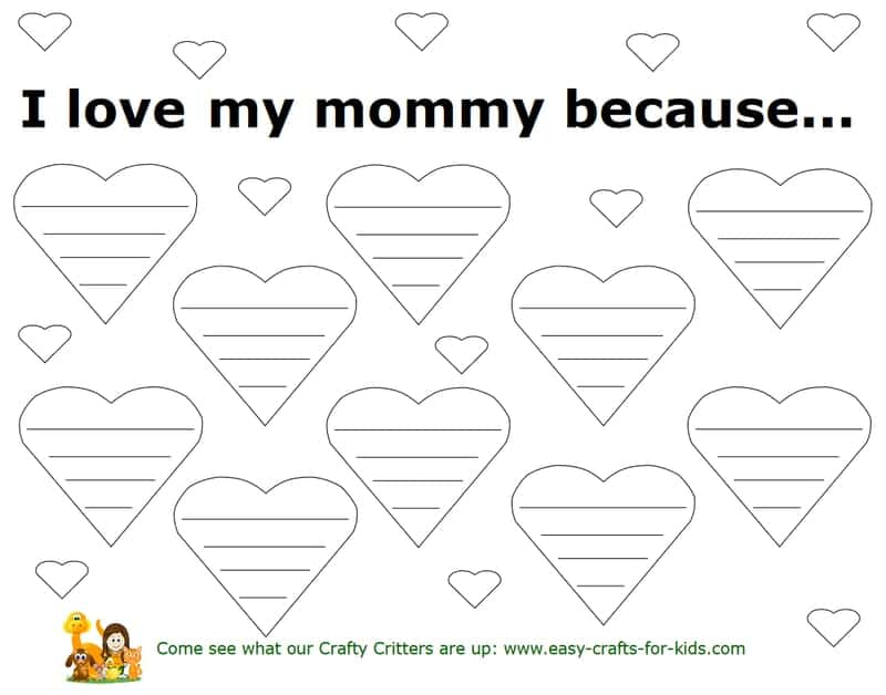 I love my mommy because... free printable