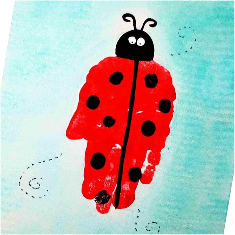 Ladybug handprint art