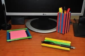 Popsicle stick desk organizers