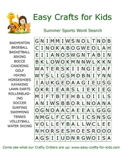 Summer sports word search