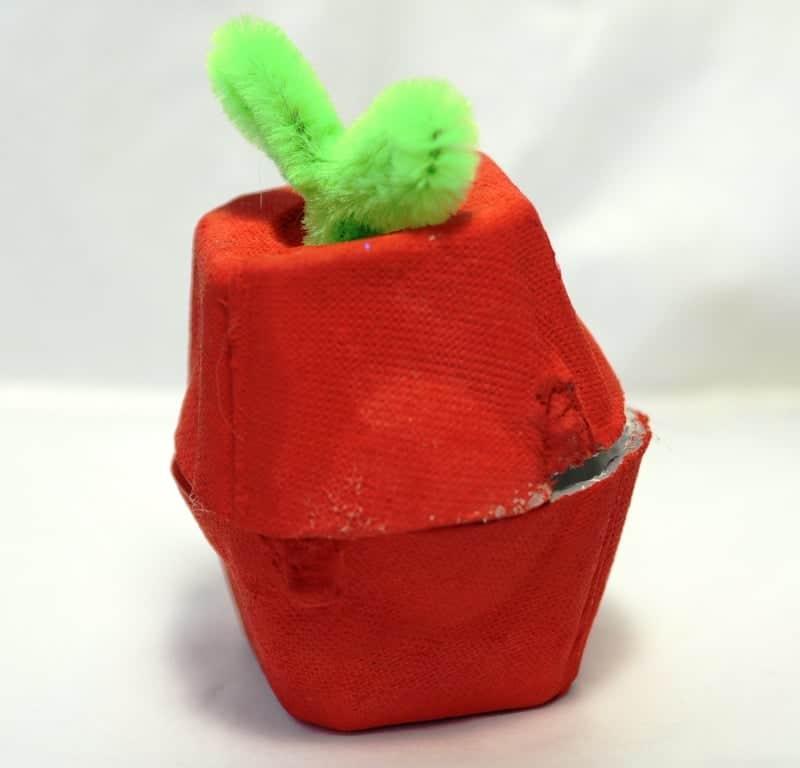 Finished egg carton apple craft
