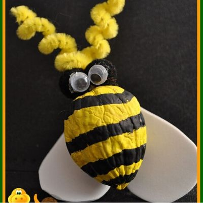 bumble bee craft with walnuts