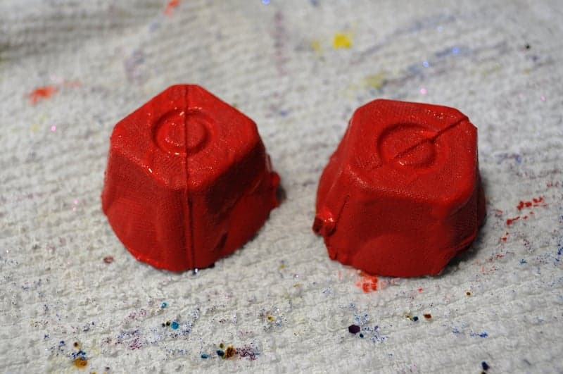 Paint egg carton pieces red