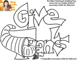 Give thanks coloring paper