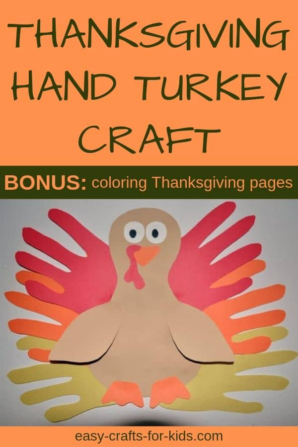 Handprint turkey craft for Thanksgiving
