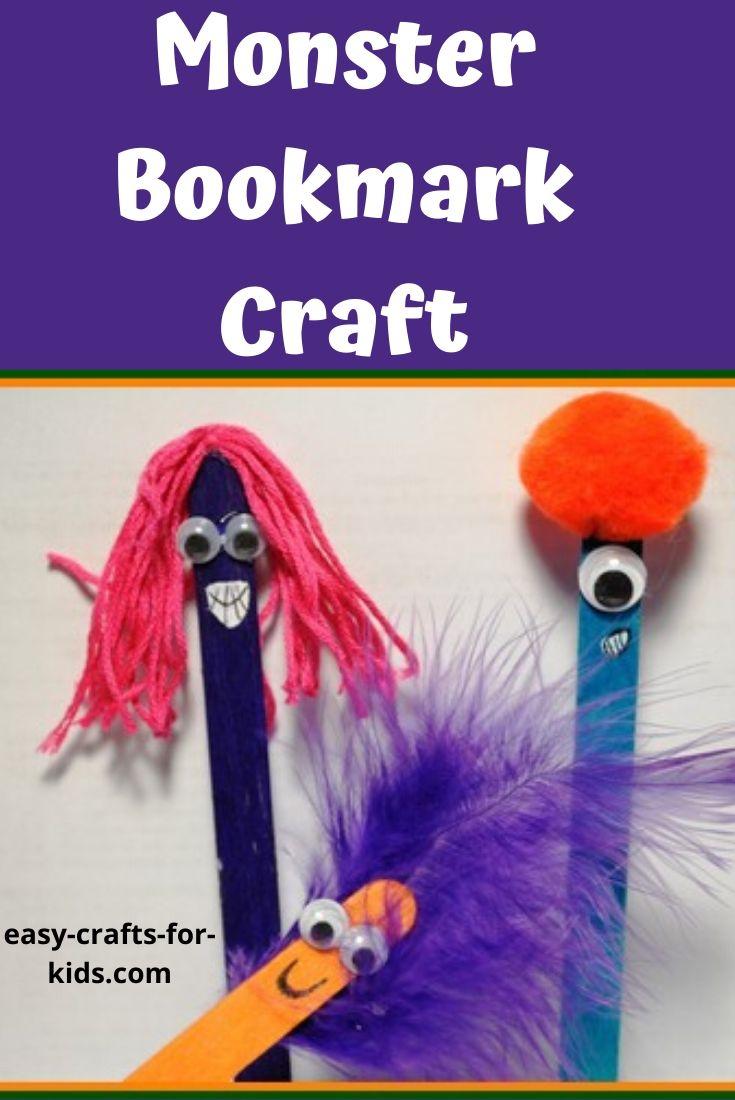 monster bookmark craft for kids