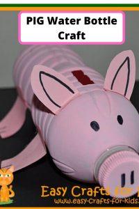 pig water bottle crafts for kids