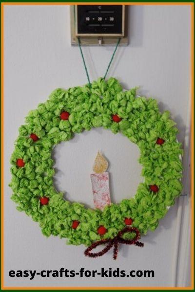 tissue paper wreath christmas
