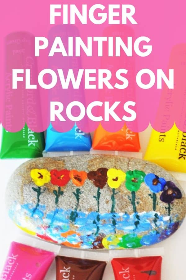 Finger painting flowers on rocks is a great activity for rainy or sick days, when your little one can't get out. Or, when they are bored and in the mood to be messy ;) #rockpainting #fingerpainting #painting #funactivity #kidsfun #paintingrocks