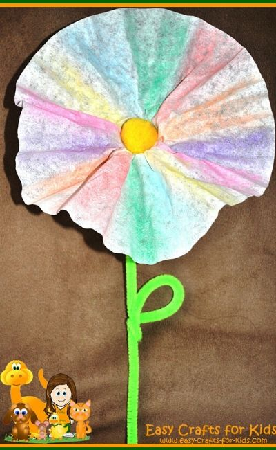 coffee filter flower crafts for kids