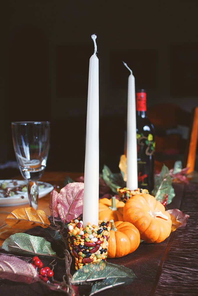 Thanksgiving Craft for Kids: DIY Thanksgiving Candle Holder with Beans