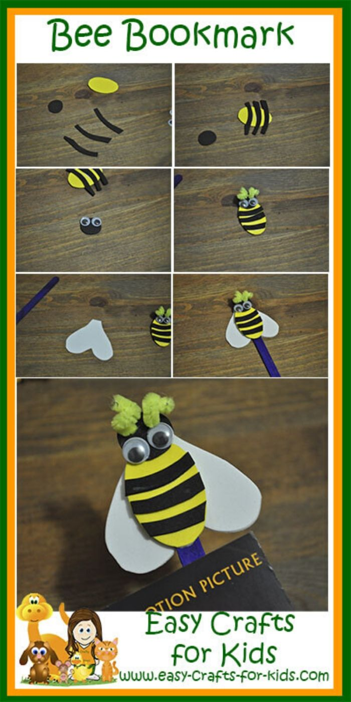 easy bumble bee bookmark craft for kids