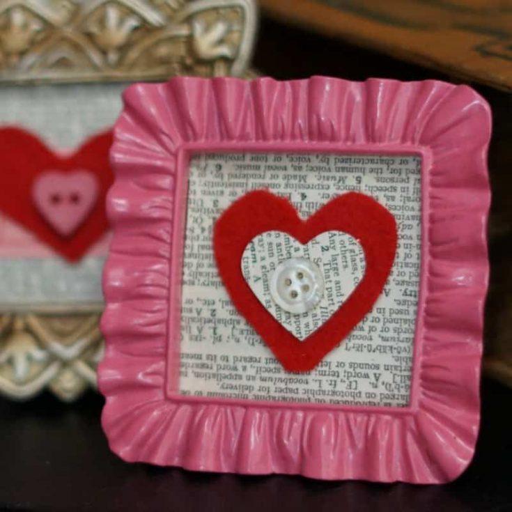 Felt Valentine Mini Frames + 40 MORE Easy Valentine's Day Craft Ideas