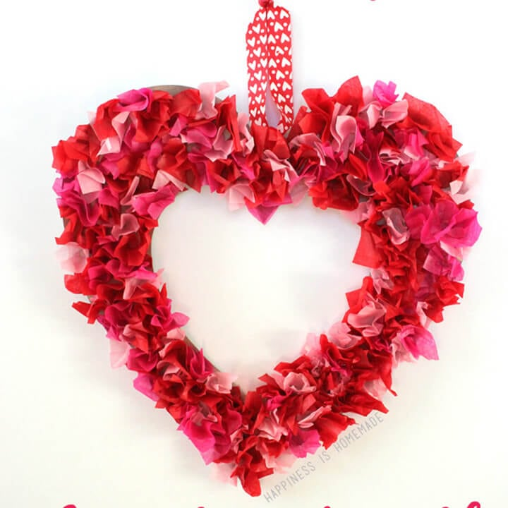 Valentine's Kids Craft: Tissue Paper Heart Wreath