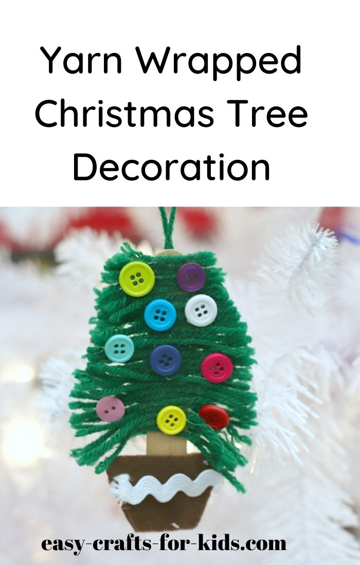 diy yarn christmas tree ornaments