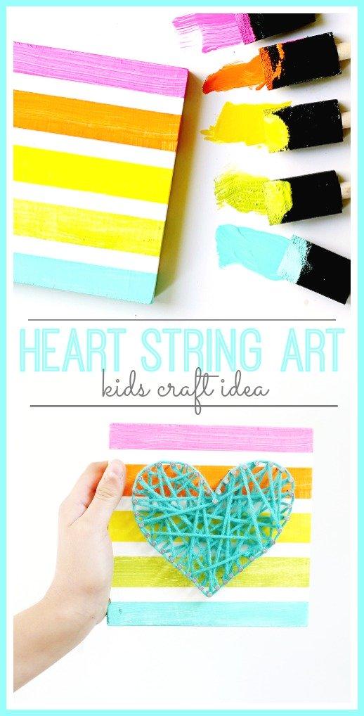 String Art Heart Kids Craft