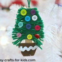 DIY Yarn Christmas Tree Ornaments