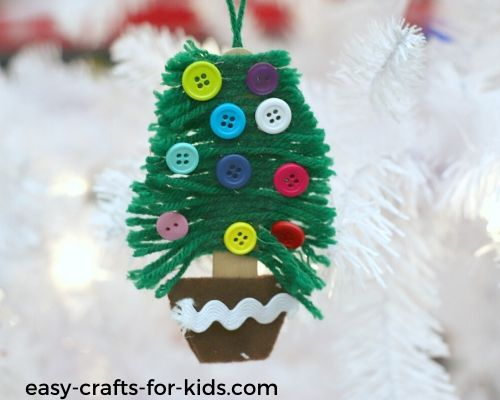 yarn christmas tree decoration craft