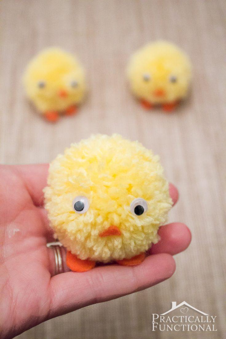 Pom Pom Chicks For Easter || Practically Functional