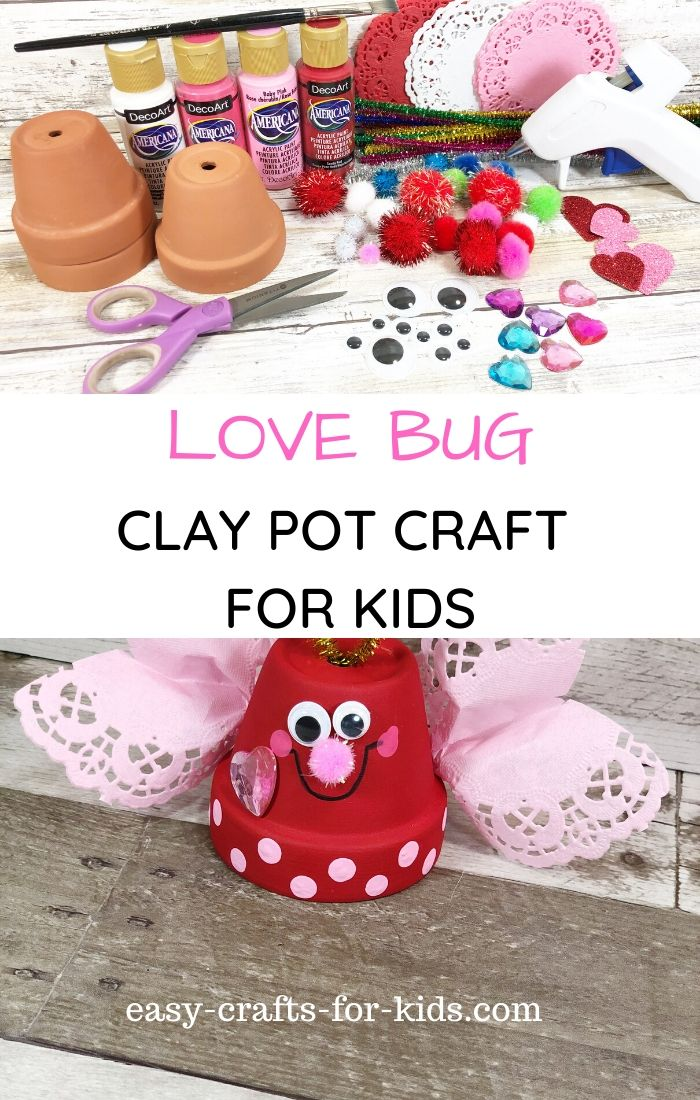Love Bug Clay Pot Craft For Kids