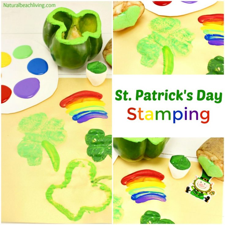 Preschool St. Patrick's Day Crafts - Shamrock Stamping