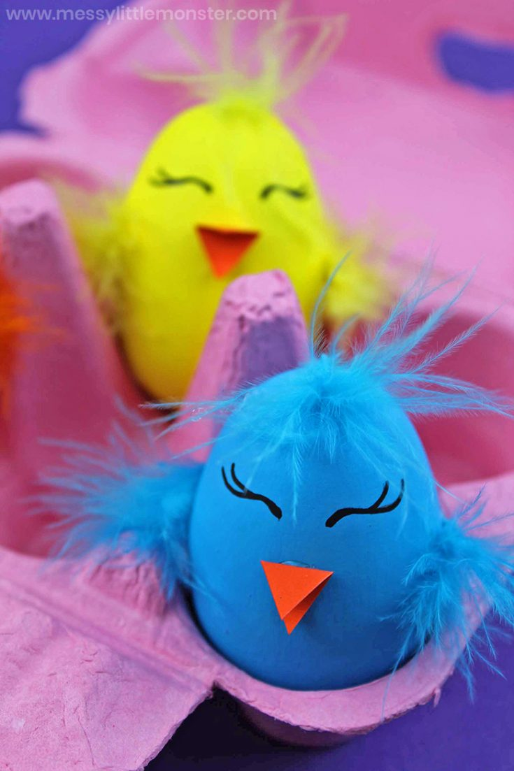 Easter Chick Craft - Painted Wooden Eggs
