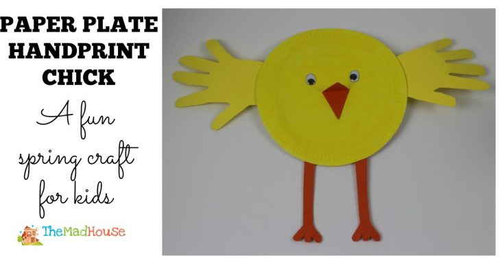 Paper plate hand print chick 17