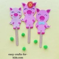 Pig Puppet Craft With Paper and Popsicle Sticks