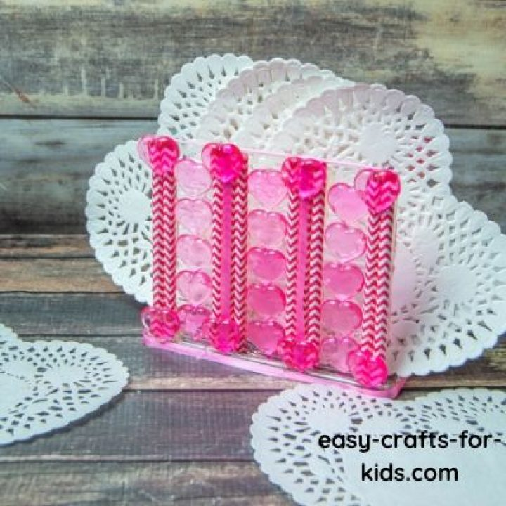 pink napkin holder craft