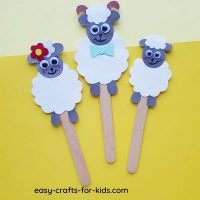 Sheep Family Craft with Popsicle Sticks